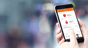 Image of alarm.com phone software offering smarter home and business security.
